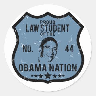 Law Student Obama Nation Classic Round Sticker