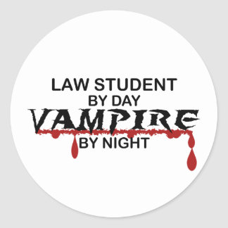 Law Student Vampire by Night Classic Round Sticker