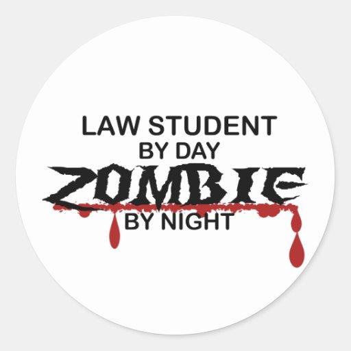 Law Student Zombie Classic Round Sticker