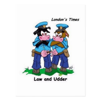 Law & Udder Funny Cow Cartoon Gifts, Collectibles Postcard