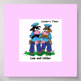 Law & Udder Funny Cow Cartoon Print