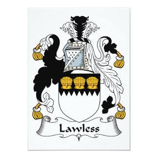 """Lawless Family Crest 5"""" X 7"""" Invitation Card"""