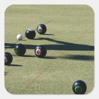 Lawn Bowls Close Call, Square Sticker