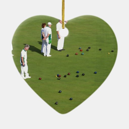 Lawn Bowls England Ceramic Heart Decoration