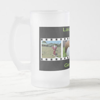 Lawn Bowls Photo Strip, Frosted Glass Beer Mug