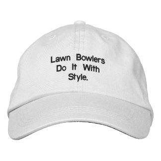 Lawn_Bowls_White_Adjustable_Cap. Gorra De Beisbol Bordada