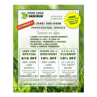 Lawn Care 4.5 x 5.6 Flyer ADD LOGO Custom Coupons