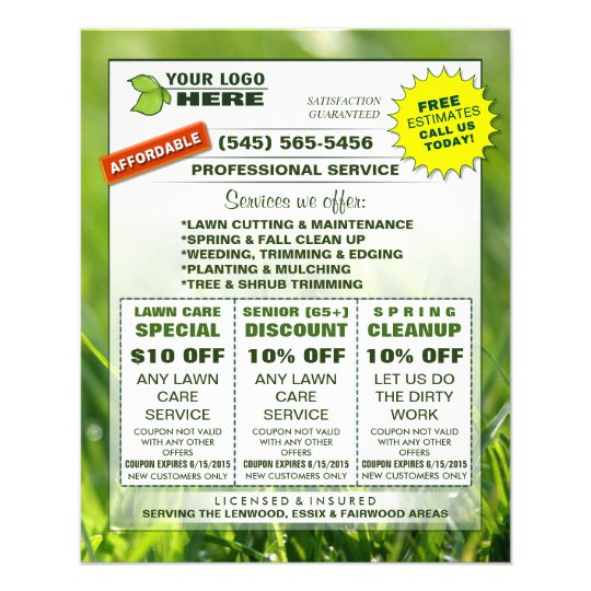 Lawn Care 4 5 X 5 6 Flyer ADD LOGO Custom Coupons