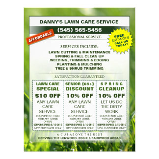 Lawn Care 8.5 x 11 Coupon Promotion Business Flyer