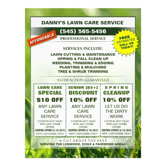 Lawn Care  X  Coupon Promotion Business Flyer  ZazzleCom