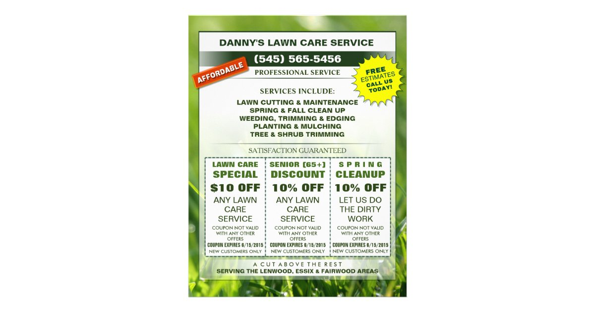 Lawn Care 8 5 X 11 Coupon Promotion Business Flyer