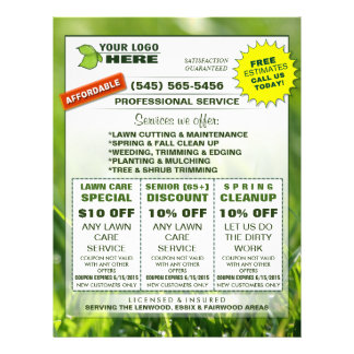 Lawn Care 8.5 x 11 Flyer ADD LOGO Custom Coupons