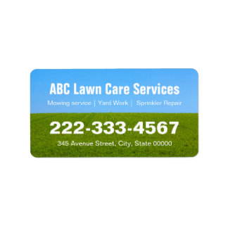 Lawn Care Green Grass Field Landscaping Services Label