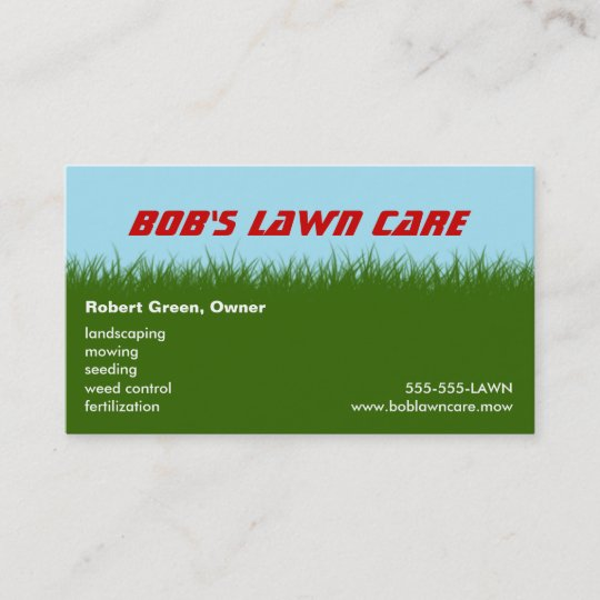 Lawn Care Green Gr Landscaping Mowing Business Card