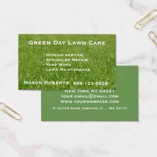Lawn Care Green Lawn Landscaping Business Card