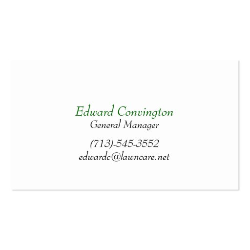 Lawn Care Landscaping Business Card (back side)