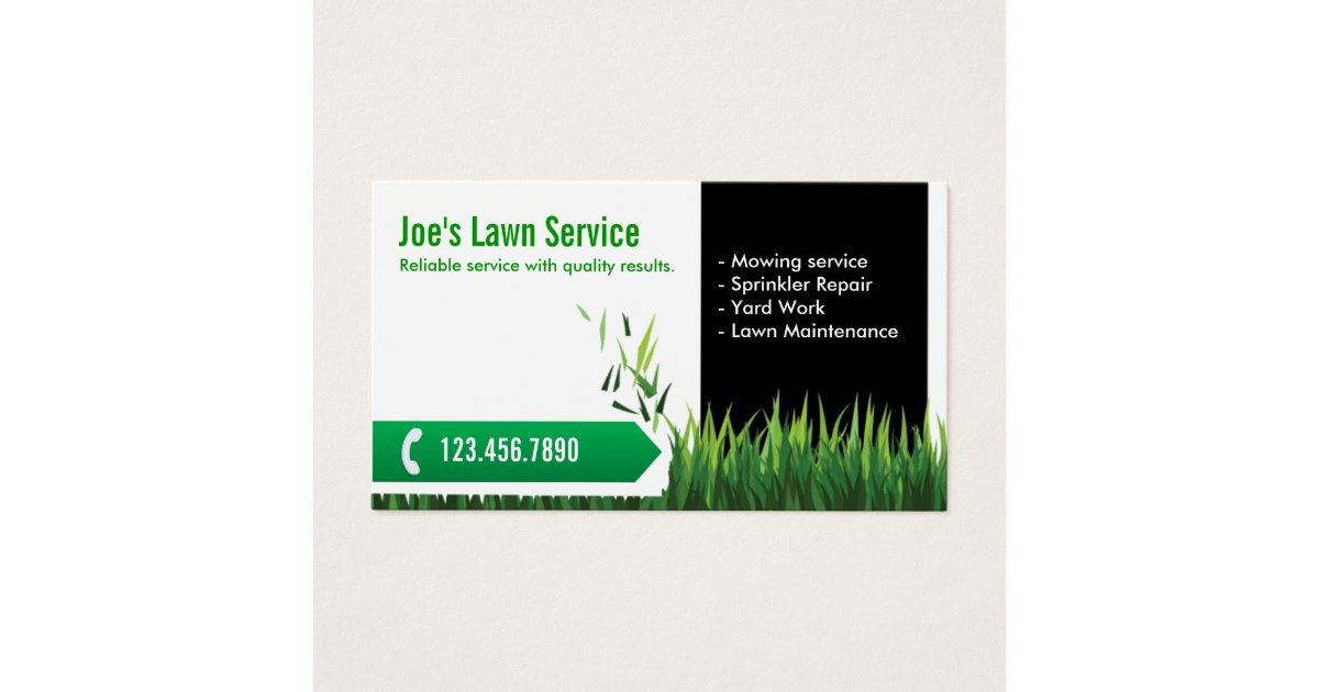 Lawn Care Landscaping Professional Mowing Business Card | Zazzle.com