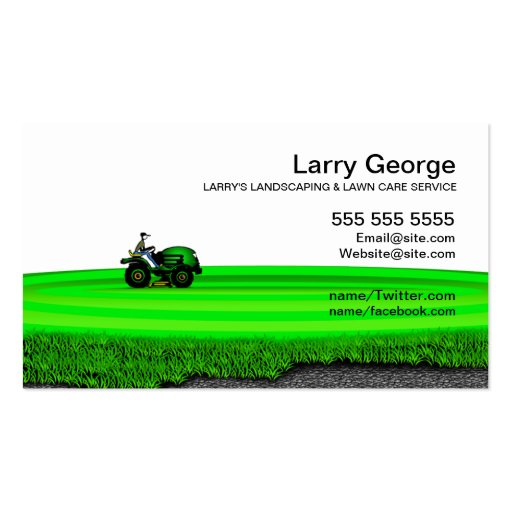 Lawn care landscaping service business card zazzle for Lawn mowing and gardening services