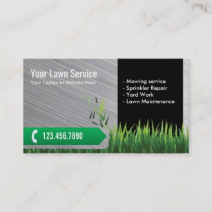 Lawn care business cards 600 lawn care business card templates lawn care landscaping service metal business card reheart Choice Image