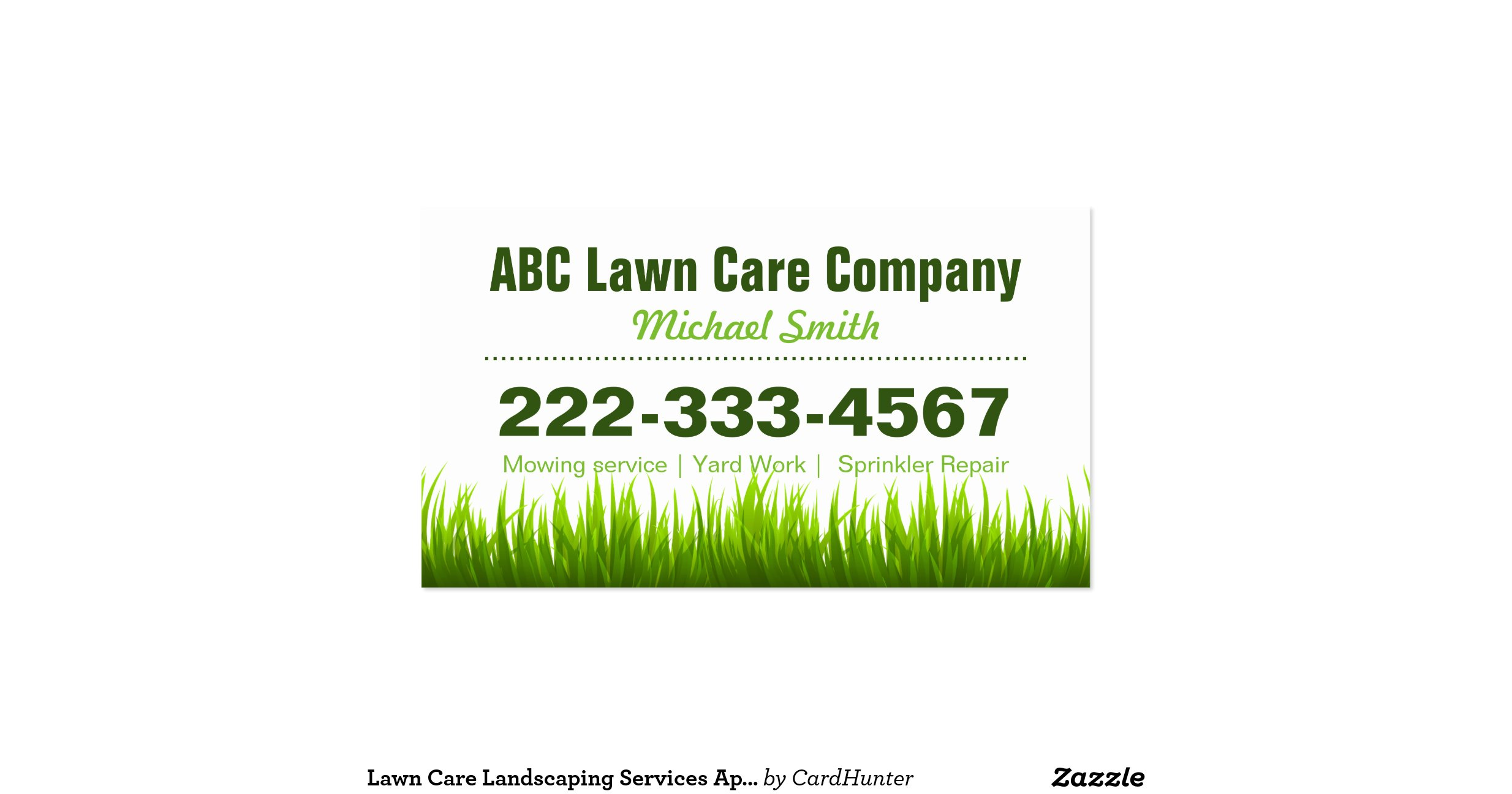 lawn care landscaping services appointment card double