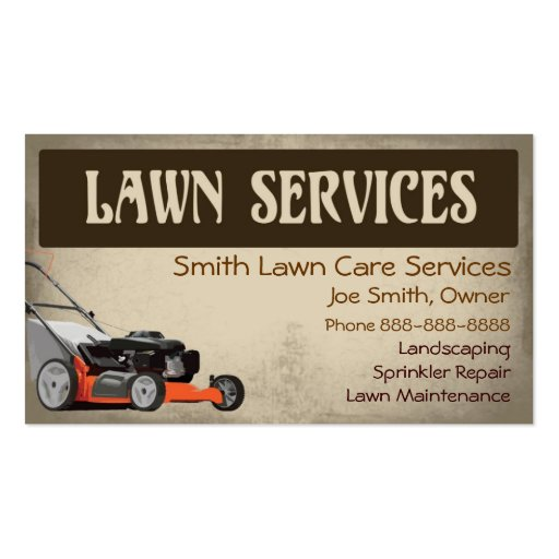 Lawn care landscaping services business card for Garden maintenance business