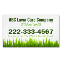 Lawn Care Landscaping Services Green Grass Style Business Card Magnet