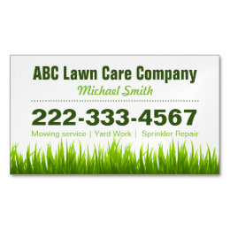 Green business cards templates zazzle lawn care landscaping services green grass style business card magnet reheart Images
