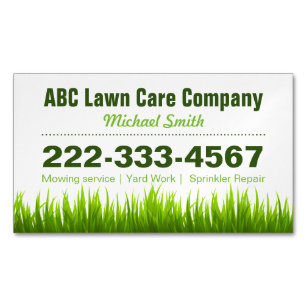 Lawn mowing business cards templates zazzle lawn care landscaping services green grass style business card magnet colourmoves