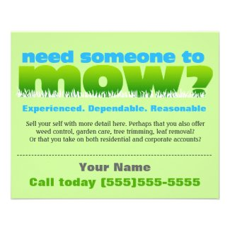 Lawn Care Mow Grass Landscaper SMALL Personalized Flyer