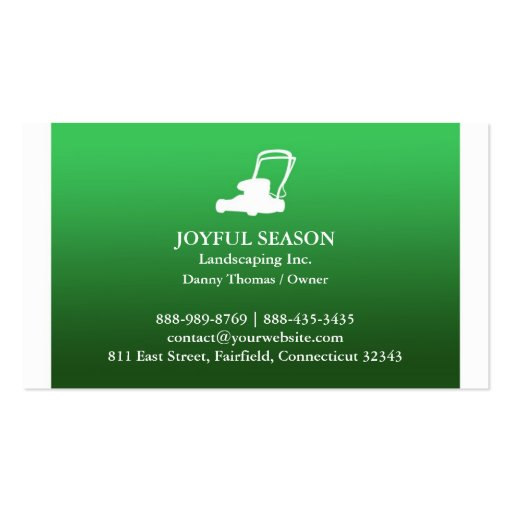 Lawn Care Mower Business card