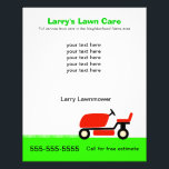 """Lawn Care Services Flyer<br><div class=""""desc"""">Flyer to advertise your lawn care business.  Design shows red rider lawnmower on green grass. Customize by adding the services you provide.</div>"""