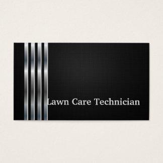 Lawn Care Technician Professional Black Silver Business Card