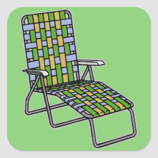 Lawn Chair Chaise Lounge Square Sticker