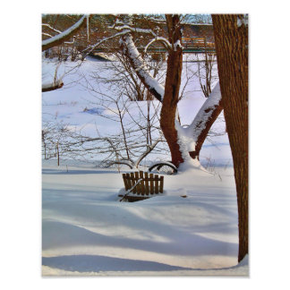 Lawn Chair In The Snow Photo Print