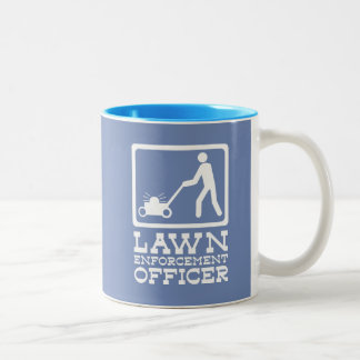 LAWN enforcement officer funny pictogram pun Two-Tone Coffee Mug