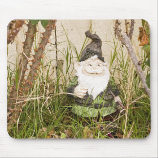 Lawn Gnome in Rose Bush Mouse Pad