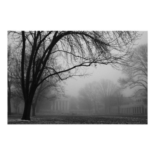 Lawn in the Mist Poster