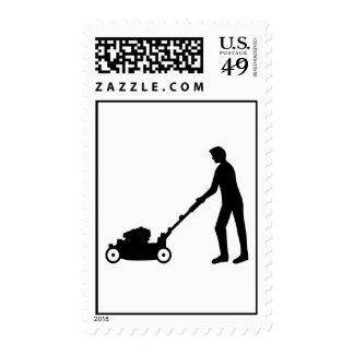 Lawn mower gardener stamp