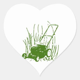 Lawn Mower Heart Sticker