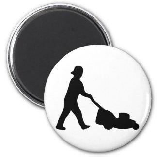 lawn mower icon 2 inch round magnet