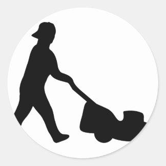 lawn mower icon classic round sticker