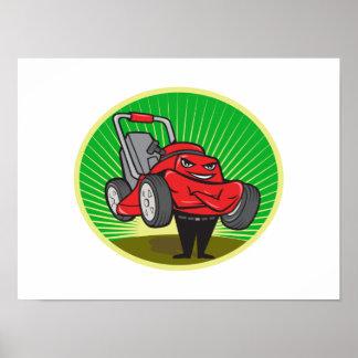 Lawn Mower Man Cartoon Oval Posters