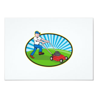 Lawn Mower Man Gardener Cartoon Card