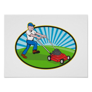 Lawn Mower Man Gardener Cartoon Poster