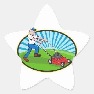 Lawn Mower Man Gardener Cartoon Star Sticker