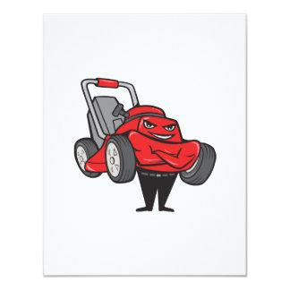 Lawn Mower Man Standing Arms Folded Cartoon Card