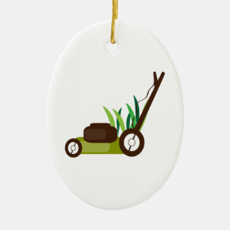 Lawn Mower Double-Sided Oval Ceramic Christmas Ornament
