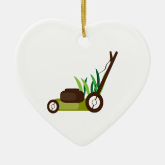 Lawn Mower Double-Sided Heart Ceramic Christmas Ornament