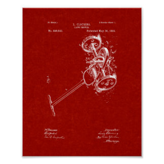 Lawn Mower Patent - Burgundy Red Poster