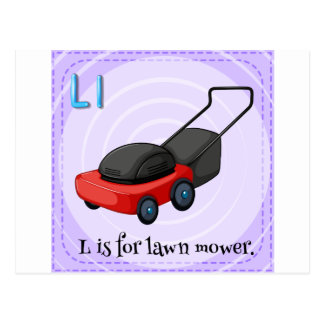 Lawn mower postcard